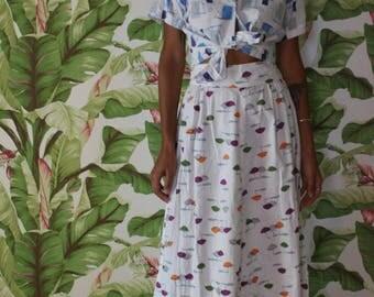 50's Skirt / Cotton Midi Skirt / Sunshine Summertime Cotton Skirt / Picnic Skirt / Garden Party Skirt / Retro Sun Print Skirt