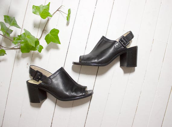 Vintage Leather Mules 8 / Slingback Mules / High Heel Mules / Slingback Heels / Black Leather Mules / Peep Toe Mules