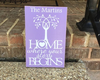 Home Is Where Custom Wood Sign ~Last Name Sign ~Wedding Bridal Shower Gift ~Housewarming Family Established ~Our Story Love Grows Best