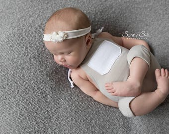 Newborn Photography Prop - Taupe Boys Romper Prop - Beige Prop - Baby Boy Prop - Newborn Photo Prop - Newborn Romper - Baby Photo Outfit
