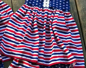 Red White and Blue stars stripes 4th of july patriotic tunic and shorts size 4T 5T ready to ship