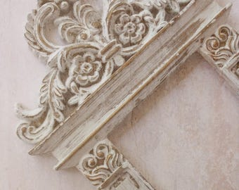 Baroque Rococo Wedding Frame. French Chic Vintage White Distressed Architectural Style Frame. Old World Charm. Painted Vintage Frame