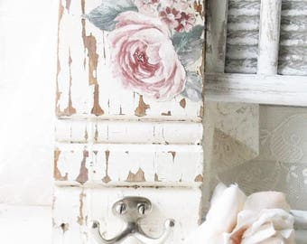 Chippy Shabby Wood Coat Hook. Rustic Farmhouse Distressed Architect w  Shabby Chic Rose. Country
