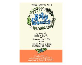Custom Baby Shower Invite - Greens Theme