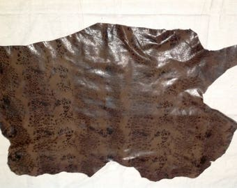 SHRM591.  Brown Printed Leather Lambskin