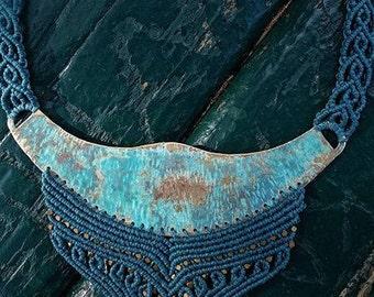 Oxidized Brass Macrame Necklace