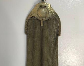 1916 WHITING & DAVIS patented Edwardian mesh evening bag purse vintage 1900s antique wristlet