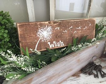 Wish dandelion Art - Distressed Wood Art - Dandelion Distressed Wood Art - Shabby Chic Art - Cottage Decor - wish wooden sign -