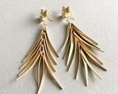 gold tassel earrings gold fringe earrings flower earrings bohemian earrings boho jewelry statement earrings long dangle earrings QUILL