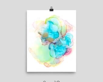 Mermaid - Alcohol Ink Fluid Art Abstract Original Art PRINT on Photo paper poster