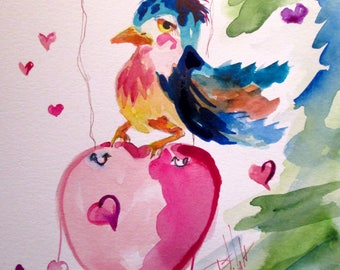 Bluebird and Heart 12x9 original watercolor painting Art by Delilah