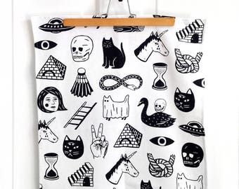 Strange Days Tea Towel - Hand Sewn & Screen Printed