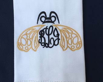 Monogrammed Bee Guest Towel