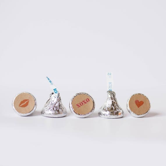 Hershey Kiss Labels- 3/4 inch- Set of 108- Valentine Set or Customize with your own design