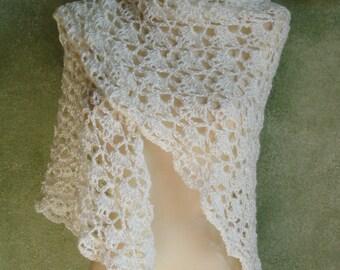 Ivory Crocheted Lace Shawl Shoulder Wrap or Bridal Shawl Handmade by Lynne of Acrylic Yarn