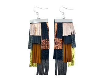 Gold Leather Earrings, Black Fringe Earrings, Geometric Earrings, Metallic Earrings, Tassel Fringe Statement Earrings, Leather Jewelry