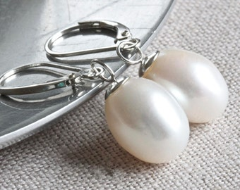 Large Pearl Earrings, Pearl Drop Earrings, Real Pearl Earrings, White Pearl Earrings, Leverback Earrings, Sterling Silver Jewelry for Her