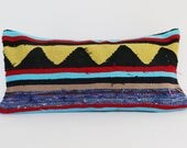 Handwoven Vintage Turkish Rug Kilim Pillow - Ox