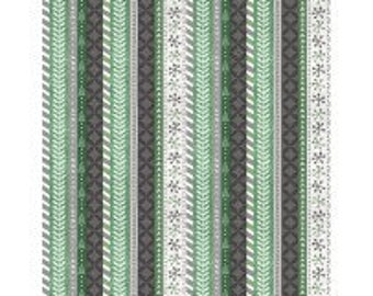 Frosted Holiday from Wilmington Prints - Full or Half Yard of green, white, and gray stripes