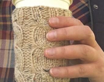 Coffee Sleeve, Coffee Cup Sleeve, Coffee Cozy in Tan Tweed, Coffee Cup Cozy, Coffee Cup Sleeve, Travel Mug Cozy, Tan Tweed, Tan Fleck