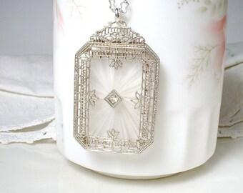 Antique DIAMOND 14K White GOLD Edwardian Camphor Glass Necklace, Art Deco Pendant Necklace, 1910's 1920's Flapper Bridal Vintage Wedding