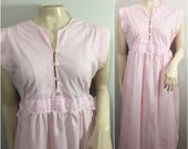 Pink and White Striped Dress // Ties at the Waist // Candy Striper Dress
