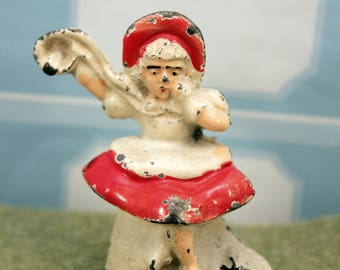 Antique Metal Tommy Toy Little Miss Muffet Nursery Rhyme Figurine Figure 1930s T
