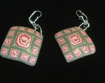 Ferris Rose Earrings . Lever Back . Polymer Clay