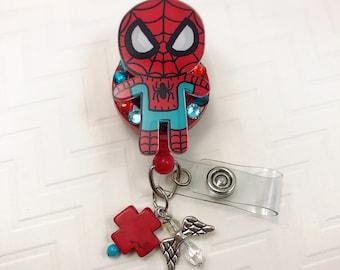 The Amazing Spider Man Spidey Superhero Crystal Rhinestones Dangle Charm Beaded Retractable ID Badge Reel CNA Rn Nurse Technician Medical