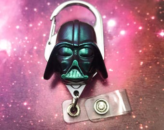 Darth Vader Star Wars Nerd Geek Badge Reel Retractable ID Holder Nurse CNA CPhT Technician Mens Womens Resin Carabiner Color Shifting Belt