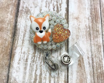 Red Fox Animal Heart Wild Nature Bling Medical Doctor Badge Reel Retractable ID Holder Name Tag Nurse CNA RN Technician CPht Alligator Clip