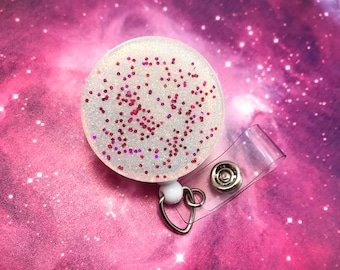 Glitter Resin Holographic Iridescent Retractable Work Id Badge Reel Name Tag Nurse Cna Rn Pharmacy Technician Medical Assistant MD Teacher