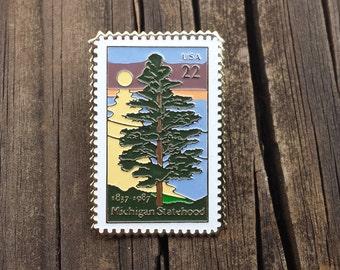 Michigan Statehood 1837-1987 Stamp, Metal and Enamel Vintage Pin, Lapel Pin