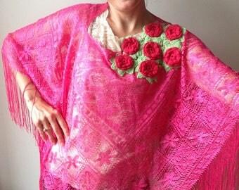 Fuschsia Pink Fringe Poncho, Upcycled Recycled Repurposed Clothing, Pink Lace Kimono, Coachella Music Festival Tops, Sustainable Fashion