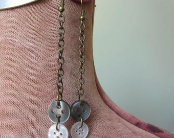 Somewhat Steampunk Repurposed Button Earrings, Upcycled Recycled Button Jewelry, Long Chain Dangle Earrings, Great BFF Bestie Gift under 10