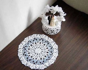 Pastel Blue and White Lace Crochet Doily, French Country Cottage Table Accent, Paris Bedroom Decor, Something Blue for Bride, 8 Inch Doily