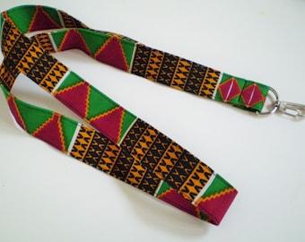 Red Green African Lanyard, African Fabric Lanyard, Red Green African Badge Holder, African Key Lanyard, Ethnic Lanyard