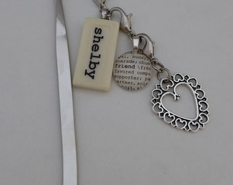 CUSTOM Bookmark with Custom Mini Domino, silver-tone charm, non-custom dictionary glass gem charm Kristin Victoria Designs