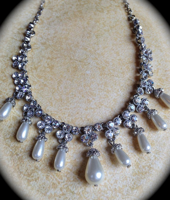 Rhinestone bridal Necklace, Vintage Pearl choker necklace