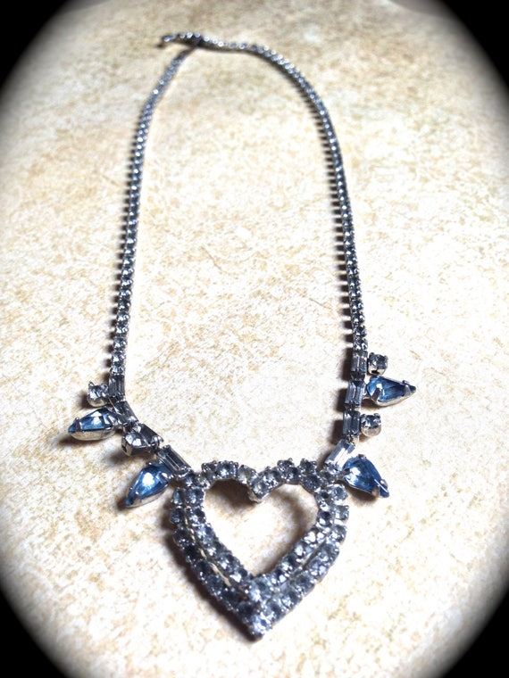 Rhinestone Heart Necklace, Rhinestone Bridal Heart Rhinestone Necklace