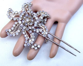 Vintage rhinestone hair comb Indonesia hair accessory hair pin hair pick hair jewelry hair ornament decorative comb