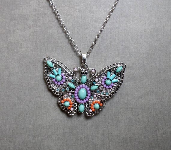 Bohemian Butterfly Necklace - Colorful Butterfly Pendant - Beaded Butterfly Necklace - Free US Shipping