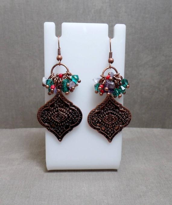 Antique Copper Beaded Earrings - Bohemian Beaded Earrings - Boho Copper Earrings - Free US Shipping