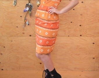 Vintage 50's Retro Orange White & Black Floral Striped Cotton Day Dress SZ M