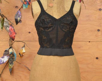 Vintage 50's Bustier Black Sheer Detail 36C Hooks Up The Back