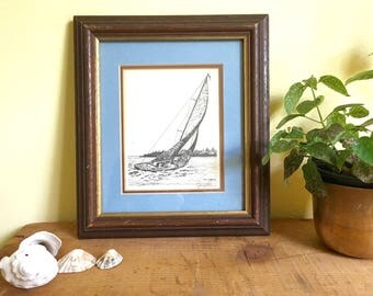 Vintage Framed Art Print, Sailboat Print, Vintage Etching, Nautical Art, Artist Jerry Miller, Signed Art