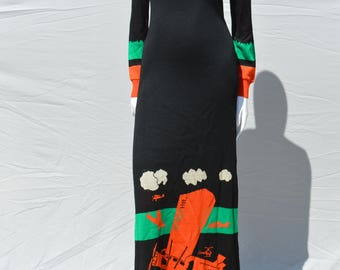 Vintage Giorgio Sant'Angelo Knit 1970s iconic sexy bodycon Airplane Print Black Sweater Maxi Dress size M buy thekaliman