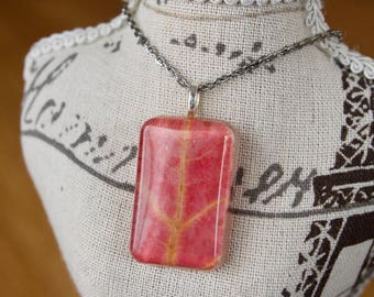 Real Leaf in Resin Pendant Necklace Autumn Necklace Resin Jewelry Jewellery Preserved Leaf