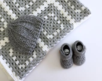 Granny Square Baby Blanket and Booties Gift Set in Grey and White