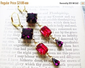 MOVING SALE On Sale Fresh Berries,Vintage Blackberry Purple, Estate Style  Rhinestones & Vintage Rasberry Rhinestones Earrings by Hollywood